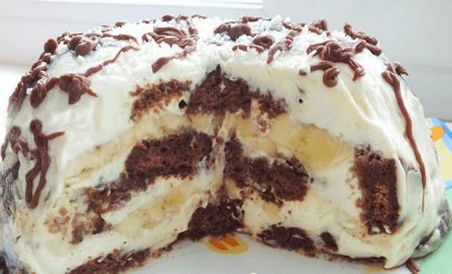 Рецепт торта с пряниками и бананами
