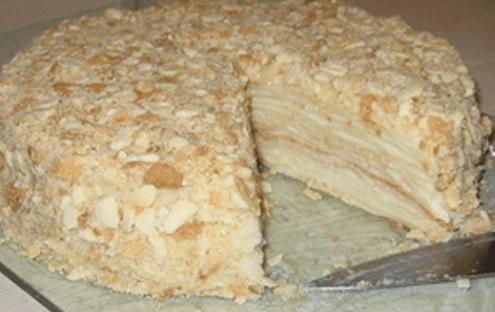 обсыпать торт наполеон крошкой