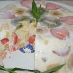 Сметанно-желейный торт с фруктами