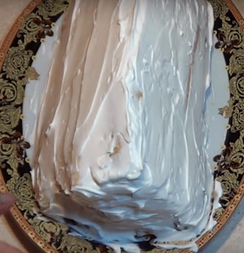 "Торт ""Дрова под снегом"" с вишней"