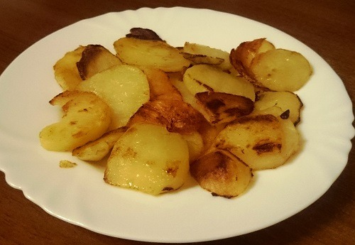 Жареный вареный картофель